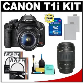 Canon EOS Rebel T1i 15.1MP Digital SLR Camera (Black) with EF-S 18-55mm IS & 55-250mm IS Lens + UV Filter + 16GB Card + (2) Batteries + Cameta Bonus Accessory Kit