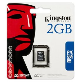 Kingston 2 GB microSD Flash Memory Card SDC/2GBSP (Single Pack)