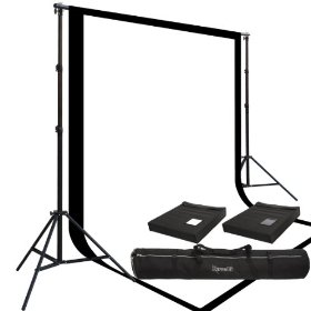 The Ravelli Full Size 10' x 12' Background Stand and Two Prism 10' x 20' 100% Cotton Muslin Backdrops
