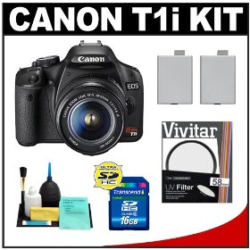 Canon EOS Rebel T1i 15.1MP Digital SLR Camera (Black) with EF-S 18-55mm IS Lens + UV Filter + 16GB Card + (2) Batteries + Cameta Bonus Accessory Kit