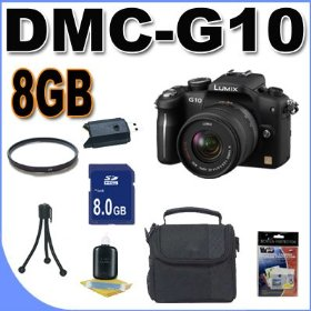 Panasonic Lumix DMC-G10 12.1 MP Live MOS Interchangeable Lens Camera with 14-42mm Lumix G Vario f/3.5-5.6 MEGA OIS Lens BigVALUEInc Accessory Saver 8GB Bundle
