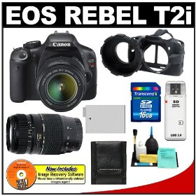 Canon EOS Rebel T2i 18.0MP Digital SLR Camera & EF-S 18-55mm IS & Tamron 70-300mm Zoom Lens with 16GB Card + Battery + Camera Armor Case + Accessory Kit