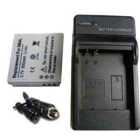 NEW Battery + Charger for Canon PowerShot SD-750 SD-1000 NB-4L NB4L + car plug