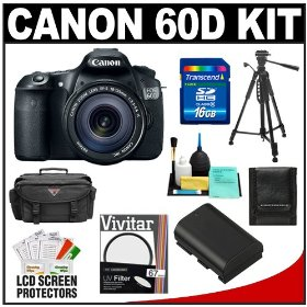 Canon EOS 60D Digital SLR Camera Body with EF-S 18-135mm IS Lens + 16GB Card + Battery + Case + Tripod + Accessory Kit