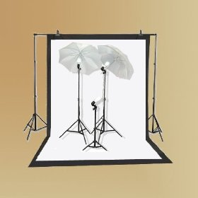 EPhoto Photography Studio Lighting Kit Fluorescent Photo Digital Video Umbrella Continuous Lighting Kit Set & 6 X9 Black White Muslin Backdrop Background Supporting System Carrying Case by ePhoto INC Kit K103
