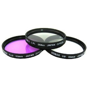 Zeikos ZE-FLK55 55mm Multi-Coated 3 Piece Filter Kit (UV-CPL-FLD)