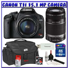 Canon EOS Rebel T1i 15.1 MP Digital SLR w/ Canon EF-S 18-55mm IS Lens & Canon EF-S 55-250mm IS Lens + Canon Battery + Canon Bag + 8GB + Deluxe Accessory Package K#6