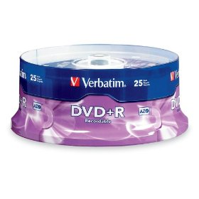 Verbatim 95033 4.7 GB 1x-16x Branded Recordable Disc DVD+R, 25-Disc Spindle