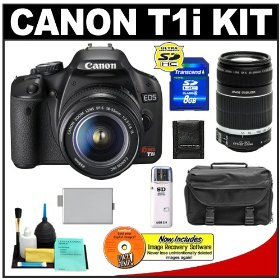 Canon EOS Rebel T1i 15.1MP Digital SLR Camera (Black) with Canon EF-S 18-55mm IS + 55-250mm f/4.0-5.6 IS Zoom Lens + 8GB Card + LP-E5 Battery + Case + Accessory Kit
