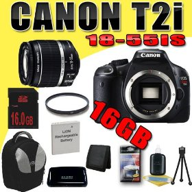 Canon EOS Rebel T2i 18 MP CMOS APS-C Digital SLR Camera w/ EF-S 18-55mm f/3.5-5.6 IS Lens DavisMAX LPE8 Battery UV 16GB Backpack Bundle