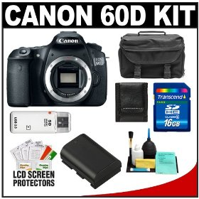 Canon EOS 60D Digital SLR Camera Body with 16GB Card + Battery + Case + Accessory Kit
