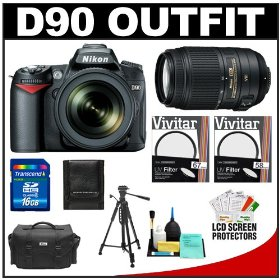Nikon D90 Digital SLR Camera Body & 18-105mm DX VR AF-S Zoom Lens with 55-300mm VR Lens + 16GB Card + Case + Tripod + Accessory Kit