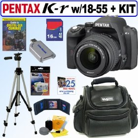 Pentax K-r 12.4 MP Digital SLR Camera with 18-55mm f/3.5-5.6 Lens (Black) + 16GB Deluxe Accessory Kit