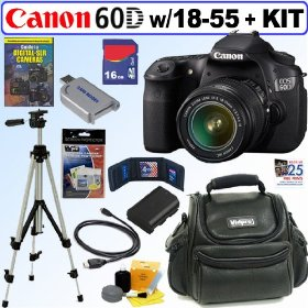 Canon EOS 60D 18 MP CMOS Digital SLR Camera with EF-S 18-55mm f/3.5-5.6 IS Lens + 16GB Deluxe Accessory Kit