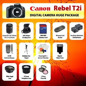 Canon EOS Rebel T2i (550D) Digital SLR Camera Body + 18-135mm Lens + 2 Extended Life Batteries + Battery Charger + 8 GB Memory Card + Card Reader + Tripod + Carrying Case + Starter Kit + Digital Flash + 2x Telephoto Lens + Wide Angle Lens and more!!