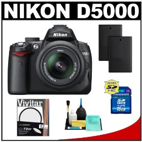 Nikon D5000 Digital SLR Camera w/ 18-55mm VR Lens + UV Filter + 16GB Card + (2x) Batteries + Cameta Bonus Accessory Kit
