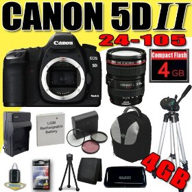 Canon EOS 5D Mark II 21.1MP Digital SLR Camera w/ EF 24-105mm f/4 L IS USM Lens DavisMAX LPE6 Battery/Charger Filter Kit Tripod 4GB deluxe BackPack Bundle