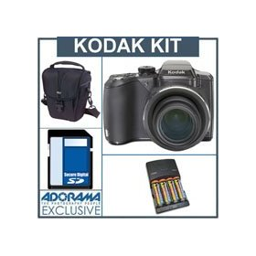 Kodak EasyShare Z981 IS Digital Camera Kit - Black - with 8GB SD Memory Card, Camera Case,, 4 AA Nickel Metal Hydride (NiMH) 2900 mAH Rechargeable Batteries with 4-Hour AA & AAA Quick Charger, 110/220 volt.