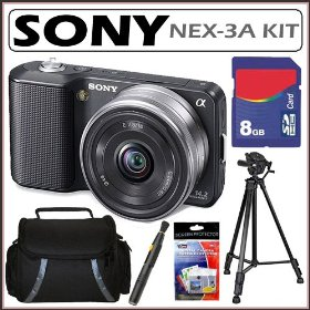 Sony DSLR Alpha NEX-3A 14.2MP Compact HD Digital Camera Black + 8GB Kit