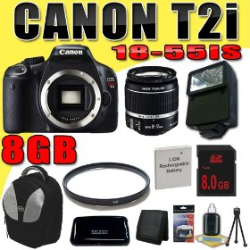 Canon EOS Rebel T2i 18 MP CMOS APS-C Digital SLR Camera w/ EF-S 18-55mm f/3.5-5.6 IS Lens DavisMAX LPE8 Battery UV External Flash 8GB Backpack Bundle