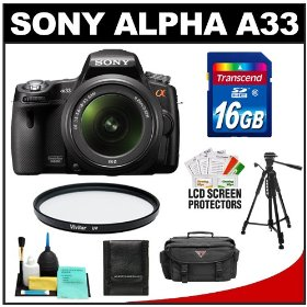 Sony Alpha A33 SLTA33L 14.2 MP Translucent Mirror Technology Digital SLR Camera & 18-55mm Lens with 16GB Card + Case + UV Filter + Tripod + Cleaning & Accessory Kit
