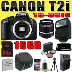 Canon EOS Rebel T2i 18 MP CMOS APS-C Digital SLR Camera w/ EF-S 18-55mm f/3.5-5.6 IS Lens DavisMAX LPE8 Battery/Charger Filter Kit Flash 16GB Bundle
