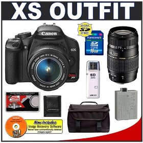Canon Digital Rebel XS 10.1MP Digital SLR Camera (Black) + Canon EF-S 18-55mm IS Lens + Tamron 70-300mm Lens + Spare LP-E5 Battery + 16GB Card + Gadget Bag