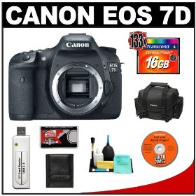 Canon EOS 7D Digital SLR Camera Body + 16GB Card + Canon 2400 DSLR Gadget Bag Case + Accessory Kit