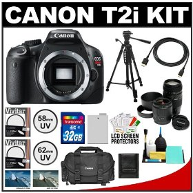 Canon EOS Rebel T2i Digital SLR Camera + Tamron 28-80mm & 70-300mm Lenses + 32GB Card + Battery + Canon 2400 DSLR Gadget Bag Case + Tripod + UV Filters