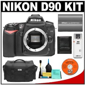Nikon D90 Digital SLR Camera Body + Nikon EN-EL3e Battery + Case + Cameta Bonus Accessory Kit