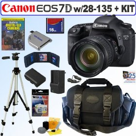 Canon EOS 7D 18 MP CMOS Digital SLR Camera with 28-135mm f/3.5-5.6 IS USM Standard Zoom Lens + 16GB Deluxe Accessory Kit