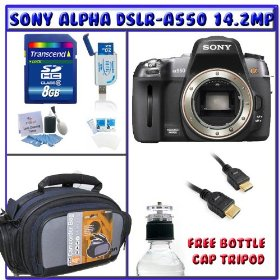 Sony Alpha DSLR-A550 14.2MP Digital SLR Camera (Body Only) + 8GB Memory Card + High-Definition Multimedia Interface Cable + Standard Accessory Pack # 1