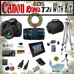 Canon EOS Rebel T2i 18.0MP Digital SLR Full HD Camera Extreme Starter Holiday Kit with EF-S 18-55mm IS, EF 75-300mm f/4-5.6 III, Opteka 7