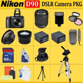 Nikon D90 SLR Digital Camera with 18-105mm Lens + Huge Accessories Package Including Wide Angle Macro Lens + 2x Telephoto + 3 Pc Filter KIT + 8gb Sdhc Memory Card + 2x Extended Life Batteries + Carrying Case + Tripod & Much More!!