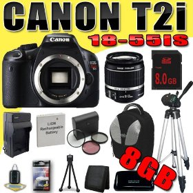 Canon EOS Rebel T2i 18 MP CMOS APS-C Digital SLR Camera w/ EF-S 18-55mm f/3.5-5.6 IS Lens DavisMAX LPE8 Battery/Charger Filter Kit Tripod 8GB Backpack Bundle