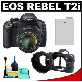 Canon EOS Rebel T2i 18.0MP Digital SLR Camera & EF-S 18-55mm IS Lens with Battery + Camera Armor Case + Cleaning Kit