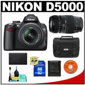 Nikon D5000 Digital SLR Camera w/ 18-55mm VR Lens + Tamron 70-300mm Zoom Lens + 8GB Memory Card + Spare EN-EL9 Battery + Case + Cameta Bonus Accessory Kit