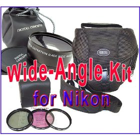 Wide-Angle Kit for NIKON D40,D60,D90,D3000,D5000 dSLRs and 18-55mm Lens