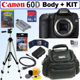 Canon EOS 60D 18 MP CMOS Digital SLR Camera (Body) + 16GB Deluxe Accessory Kit