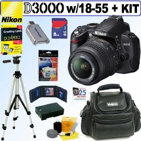 Nikon D3000 - Digital camera - SLR - 10.2 Mpix - Nikon AF-S VR DX 18-55mm lens - optical zoom: 3 x - supported memory: SD, SDHC