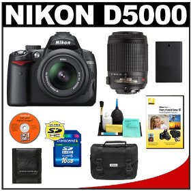 Nikon D5000 Digital SLR Camera with 18-55mm VR Lens + 55-200mm VR Zoom Lens + 16GB Memory Card + Spare EN-EL9 Battery + Case