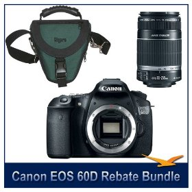 Canon EOS 60D 18 Megapixel SLR Digital Camera with a 200 Instant Rebate Bundle. Includes Camera Body, Canon's EF-S 55-250mm f/4-5.6 IS (Stabilized) Lens with Canon USA Warranty, and a Deluxe SLR Holster Case. Save Up To 500.00 with Canon Printer Rebat