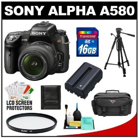 Sony Alpha DSLR-A580 16.2 MP Digital SLR Camera & 18-55mm Lens with 16GB Card + Battery + Case + UV Filter + Tripod + Cleaning & Accessory Kit