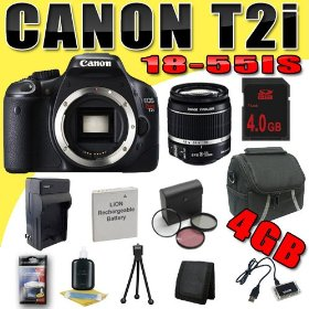 Canon EOS Rebel T2i 18 MP CMOS APS-C Digital SLR Camera w/ EF-S 18-55mm f/3.5-5.6 IS Lens DavisMAX LPE8 Battery/Charger Filter Kit 4GB Bundle