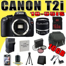 Canon EOS Rebel T2i 18 MP CMOS APS-C Digital SLR Camera w/ EF-S 18-55mm f/3.5-5.6 IS Lens DavisMAX LPE8 Battery/Charger Filter Kit 16GB Bundle