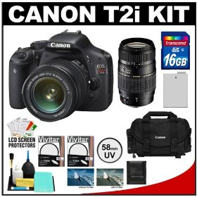 Canon EOS Rebel T2i Digital SLR Camera Body & EF-S 18-55mm IS Lens (Black) with Tamron 70-300mm Lens + 16GB Card + Battery + Canon 2400 DSLR Gadget Bag Case + Filters + Accessory Kit