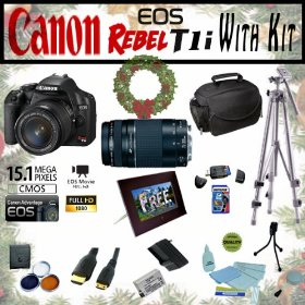 Canon EOS Rebel T1i 15.1MP Digital SLR Camera Extreme Starter Holiday Kit with EF-S 18-55mm IS, EF 75-300mm f/4-5.6 III, Opteka 7