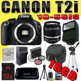 Canon EOS Rebel T2i 18 MP CMOS APS-C Digital SLR Camera w/ EF-S 18-55mm f/3.5-5.6 IS Lens DavisMAX LPE8 Battery/Charger Filter Kit Flash Tripod 16GB Bundle
