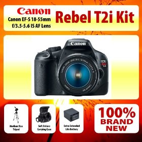 Canon EOS Rebel T2i Digital SLR Camera Kit with Ef-s 18-55mm F/3.5-5.6 Is Lens Kit + Medium Size Tripod + Soft Deluxe Carrying Case + Extra Extended Life Battery and More!