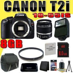Canon EOS Rebel T2i 18 MP CMOS APS-C Digital SLR Camera w/ EF-S 18-55mm f/3.5-5.6 IS Lens DavisMAX LPE8 Battery UV Flash 8GB Bundle